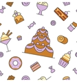 Desserts and Sweets Food Line Art Seamless Pattern vector image vector image