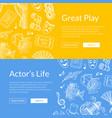 doodle theatre elements web banners vector image