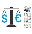 Euro Dollar Balance Icon With 2017 Year Bonus vector image