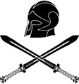 fantasy barbarian helmet with swords vector image