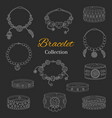 fashionable bracelets collection hand vector image