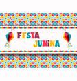 festa junina greeting card paper balloons vector image