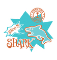 funny shark print for kids vector image vector image