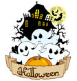 halloween banner with three ghosts vector image