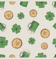 hand drawn beer mug leprechaun golden coins and vector image vector image