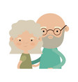 light color silhouette of half body couple elderly vector image vector image