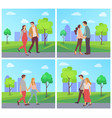 man and woman on date city park in spring set vector image vector image