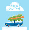 merry christmas greeting card with a car vector image vector image