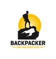 modern mountain explorer person logo vector image vector image