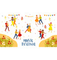 music festival advertising poster design vector image vector image
