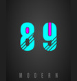 number font modern design set of numbers 8 9 vector image
