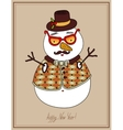 original hipster snowman in sunglasses hat vector image vector image