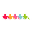 people line of caring group logo vector image
