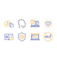 pie chart heartbeat and friends chat icons set vector image vector image