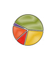 pie chart in color crayon silhouette vector image