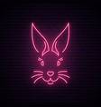 rabbit neon sign pink easter bunny muzzle vector image