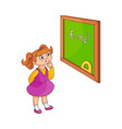 school girl with near blackboard isolated on white vector image vector image