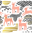 seamless pattern cute deer childish background vector image vector image