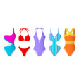 set women swimsuits colorful bikini and vector image