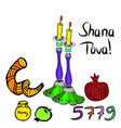 shana tova 5779 inscription vector image vector image
