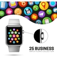 Smart watch with stainless wristband vector image vector image