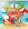 summer party on the beach poster design vector image