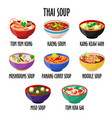 thai soup icon set different dishes in colorful vector image