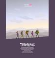 trekking traveling vector image vector image