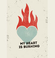 valentine greeting card with burning heart vector image vector image