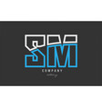 white blue alphabet letter sm s m logo icon design vector image vector image
