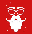 white santa claus mask on red background vertical vector image vector image