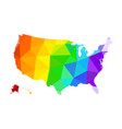 the lgbt flag in the form of a map of the united vector image