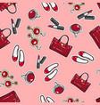 wallpaper earing ring sack shoes lipstick vector image
