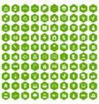 100 kindergarten icons hexagon green vector image vector image