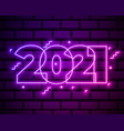 2021 neon text 2021 new year design template vector image vector image