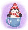 adorable penguin in a cup wearing winter hat vector image vector image