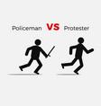 angry policeman attack civil man vector image