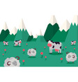 animal farm graze animal in mountainous locality vector image