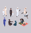 arab family isometric east people in hijab vector image