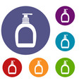 bottle with liquid soap icons set vector image vector image