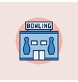Bowling building flat icon vector image vector image