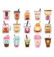 bubble tea doodles dessert asian drinks in vector image