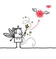 cartoon fairy with magic wand and coronavirus vector image vector image