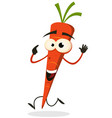 cartoon happy carrot character running vector image vector image