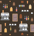 coffe shop flat elements seamless cartoon pattern vector image