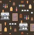 coffe shop flat elements seamless cartoon pattern vector image
