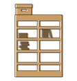 color bookcase with books inside and box archive vector image vector image