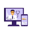 computer and mobile phone with app for healthcare vector image vector image