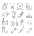 cosmetics line icons on white vector image vector image