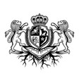 crest lion with crown logo vector image vector image